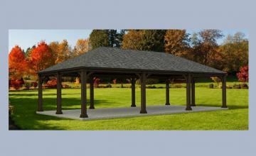image of open-sided pavilion on green field
